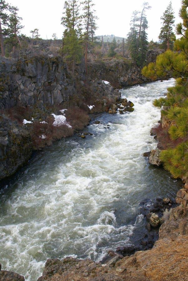 Rapids et cascades à écriture ligne par ligne de Whitewater photographie stock libre de droits