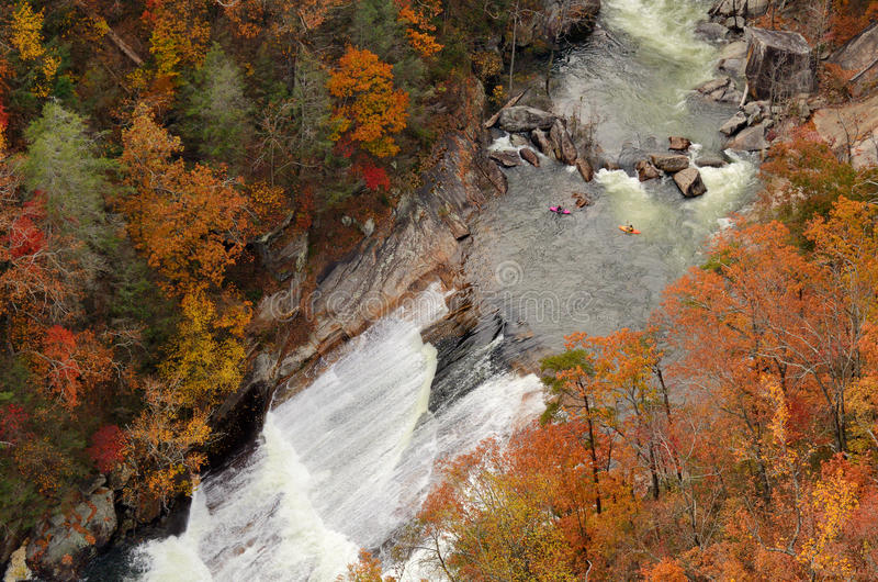 Rapids in a Gorge. Kayakers contemplate a rapid at Tallulah Gorge in Northeast Georgia, USA royalty free stock images