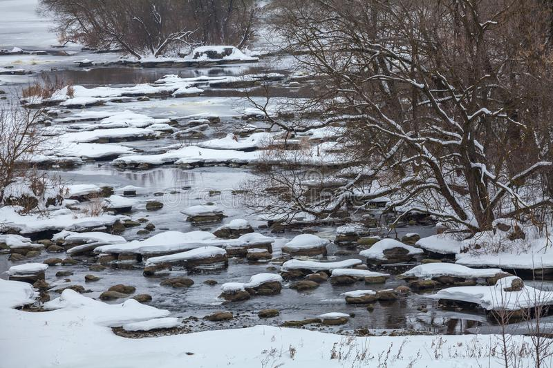 Rapids. On the river Southern Bug in winter royalty free stock photography