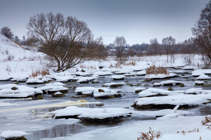 Rapids. On the river Southern Bug in winter stock photos