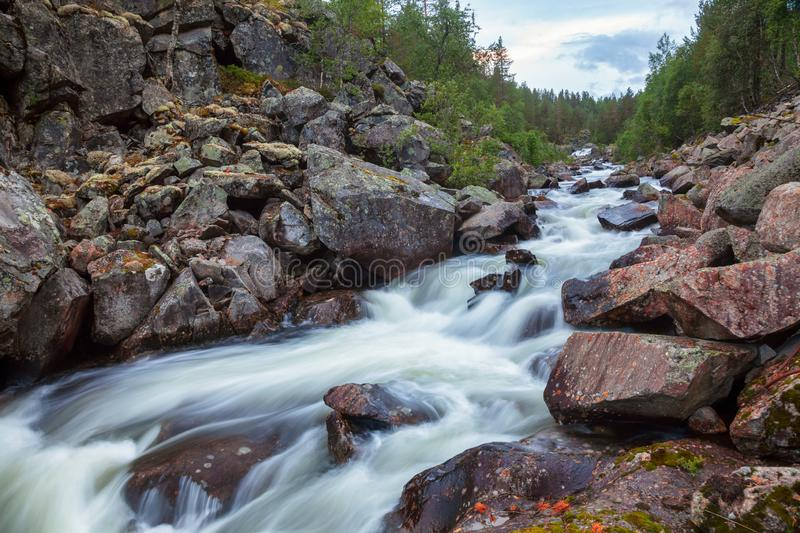 Norwegian landscape with rushing stream Telemark Norway Scandinavia. Rapids on small forest stream in Telemark County, Norway, Scandinavia royalty free stock photos