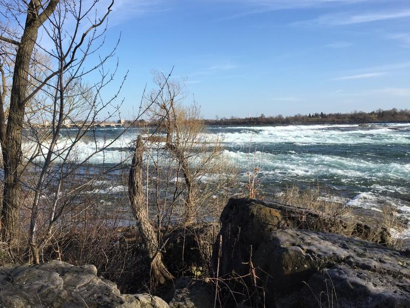 Rapids of the St. Lawrence River stock photography