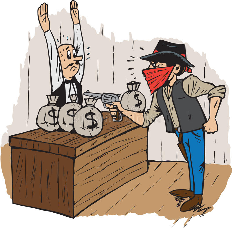 Rapina in banca illustrazione vettoriale