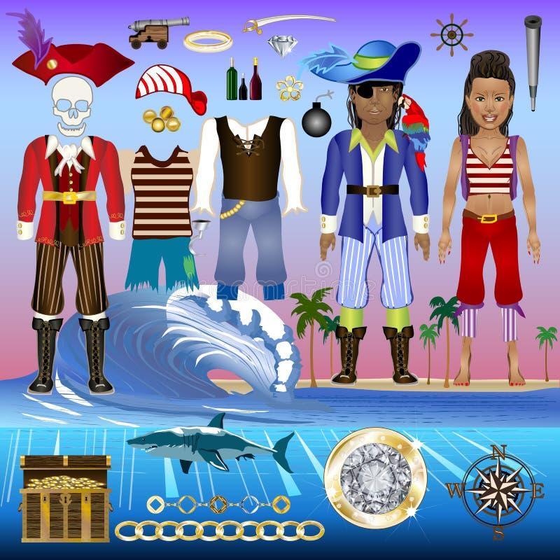 Rapini il corredo di vettore degli elementi - caratteri di Posable Dressable con i costumi dettagliati per vari usi royalty illustrazione gratis