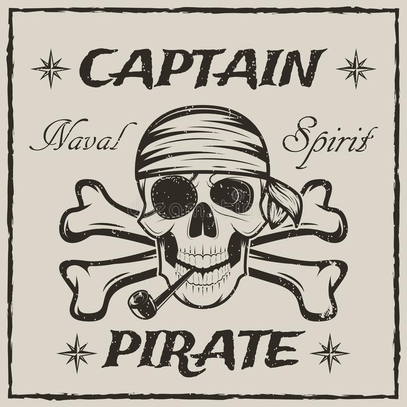 Rapini il cranio di capitano e l'illustrazione di lerciume di schizzo di vettore di tibie incrociate royalty illustrazione gratis