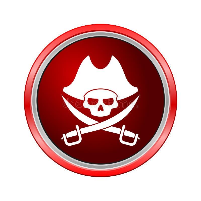 Rapini l'icona del cranio, bottone di Internet su fondo bianco illustrazione di stock