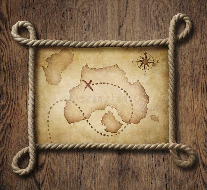 Rapini la struttura nautica della corda di tema con il vecchio tesoro immagini stock libere da diritti