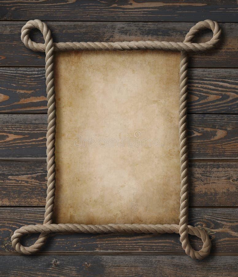 Rapini la struttura nautica della corda di tema con vecchio fondo di carta fotografia stock