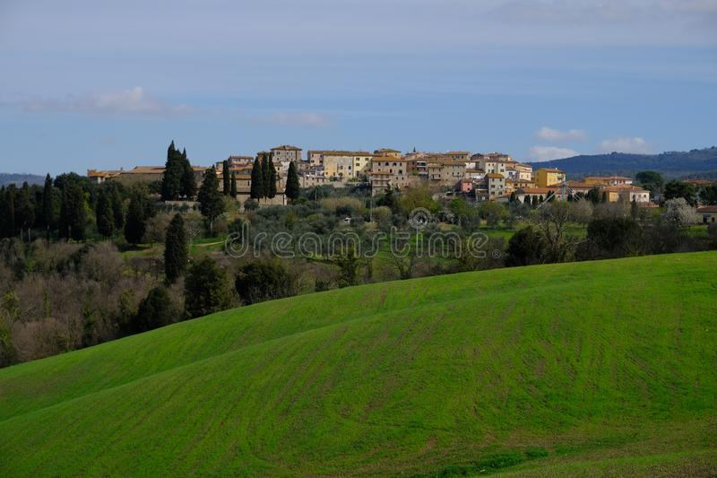 Rapolano Terme, Tuscany, Italy. Landscape from the green hill stock photo