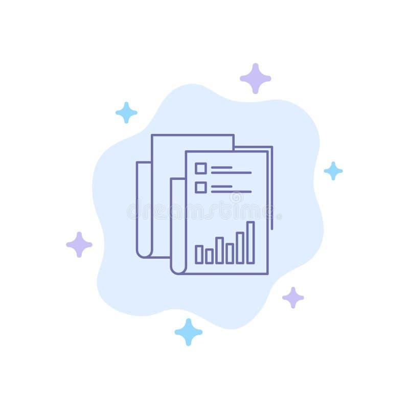 Raport, analityka, rewizja, biznes, dane, marketing, Papierowa Błękitna ikona na abstrakt chmury tle ilustracja wektor
