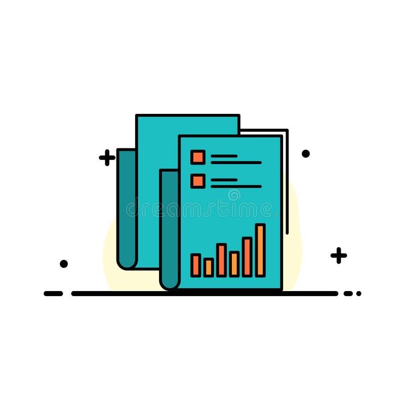 Raport, analityka, rewizja, biznes, dane, marketing, Papierowa Biznesowa linia Wypełniający mieszkanie ikony sztandaru Wektorowy  royalty ilustracja