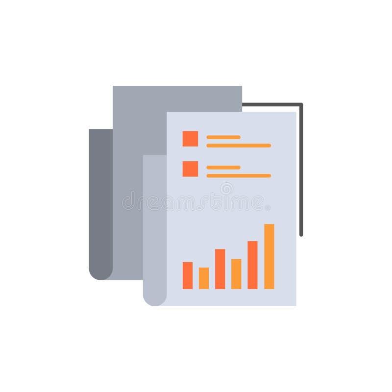 Raport, analityka, rewizja, biznes, dane, marketing, Papierowa Płaska kolor ikona Wektorowy ikona sztandaru szablon ilustracja wektor