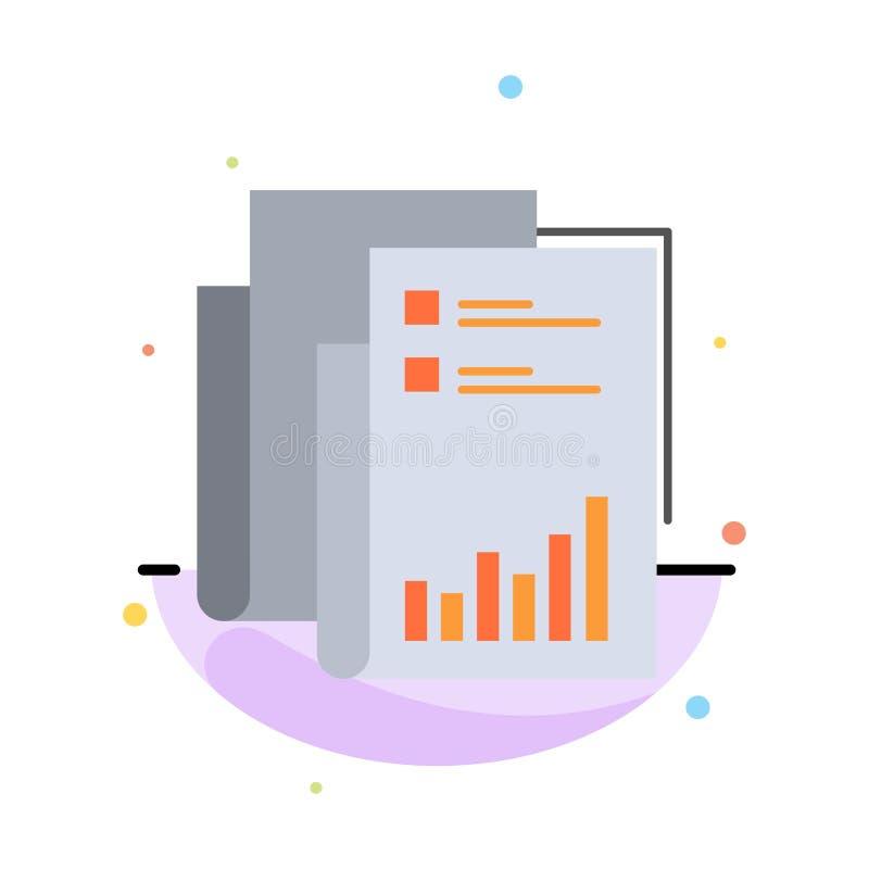 Raport, analityka, rewizja, biznes, dane, marketing, Papierowy Abstrakcjonistyczny Płaski kolor ikony szablon royalty ilustracja
