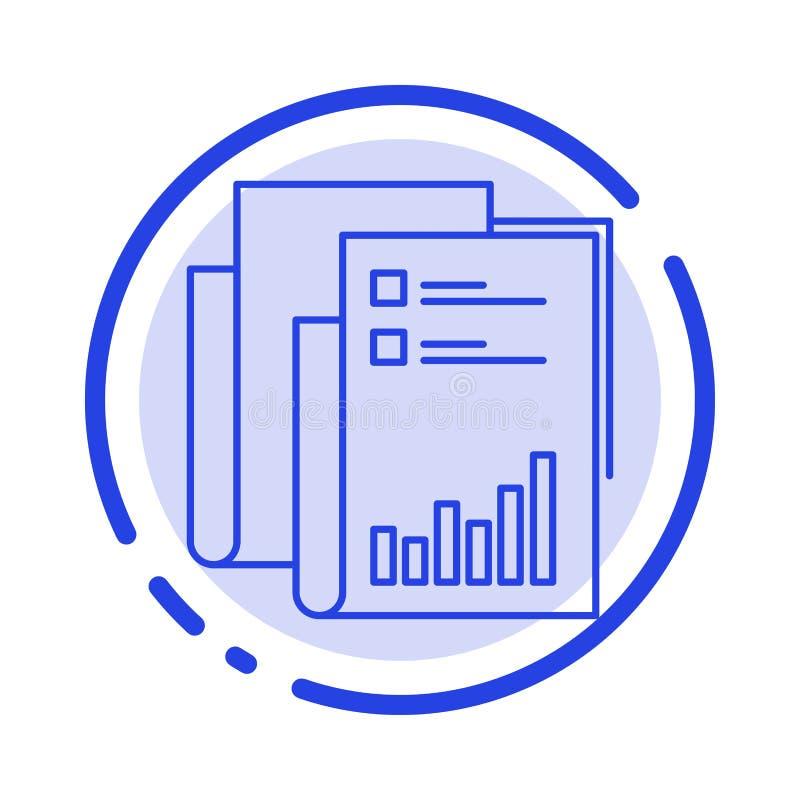 Raport, analityka, rewizja, biznes, dane, marketing, Papierowy błękit Kropkująca linii linii ikona royalty ilustracja