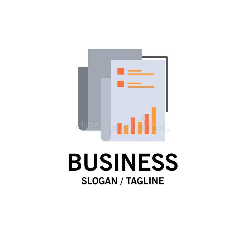 Raport, analityka, rewizja, biznes, dane, marketing, Papierowy Biznesowy logo szablon p?aski kolor royalty ilustracja