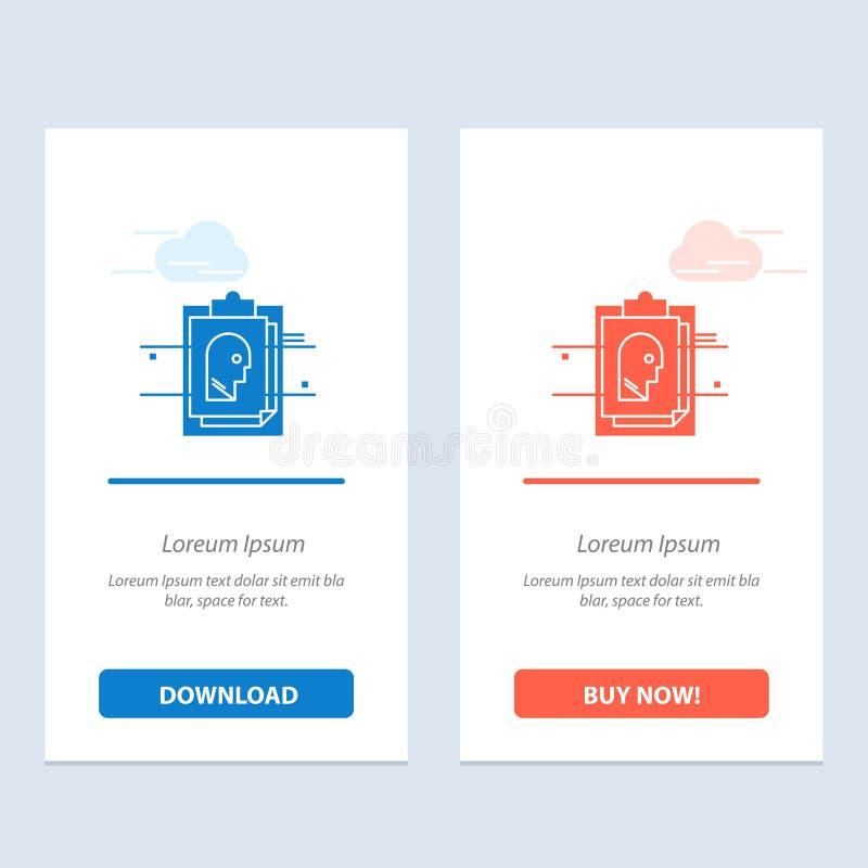 Raport, karta, kartoteka, użytkownik - Id, błękita i Czerwonej sieci Widget karty szablon, ilustracja wektor