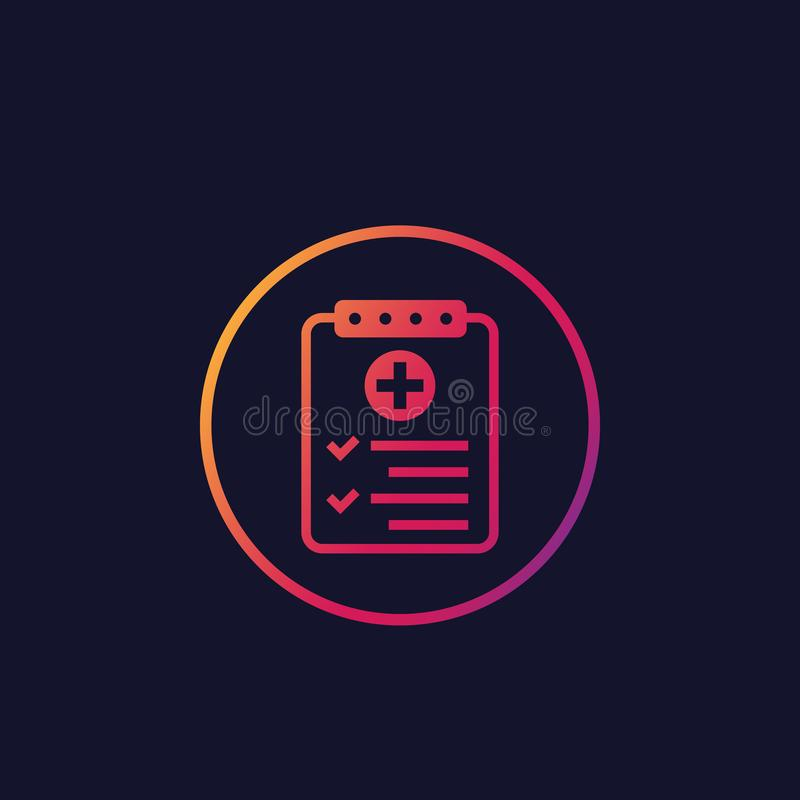 Raport medyczny, test formularzowa wektorowa ikona royalty ilustracja
