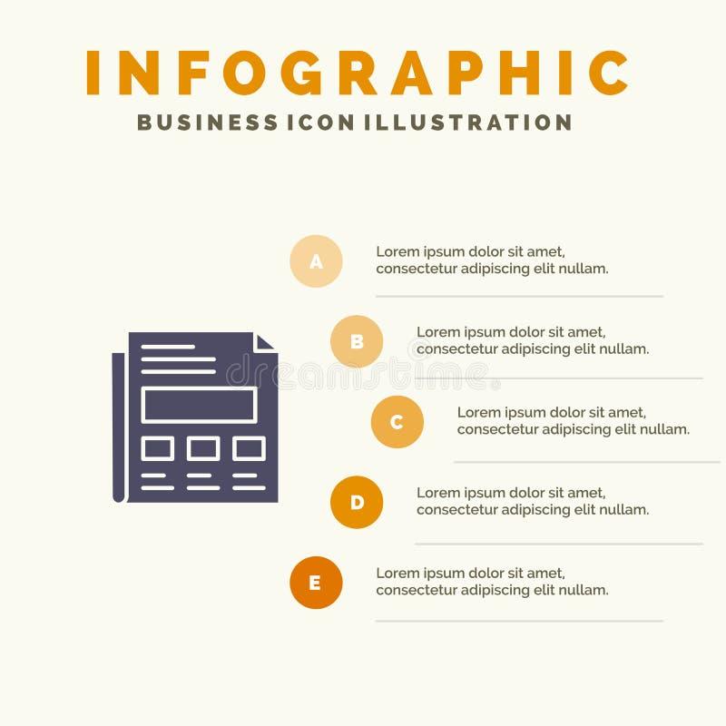 Raport, papier, prześcieradło, prezentacji ikony Infographics 5 kroków prezentacji Stały tło royalty ilustracja