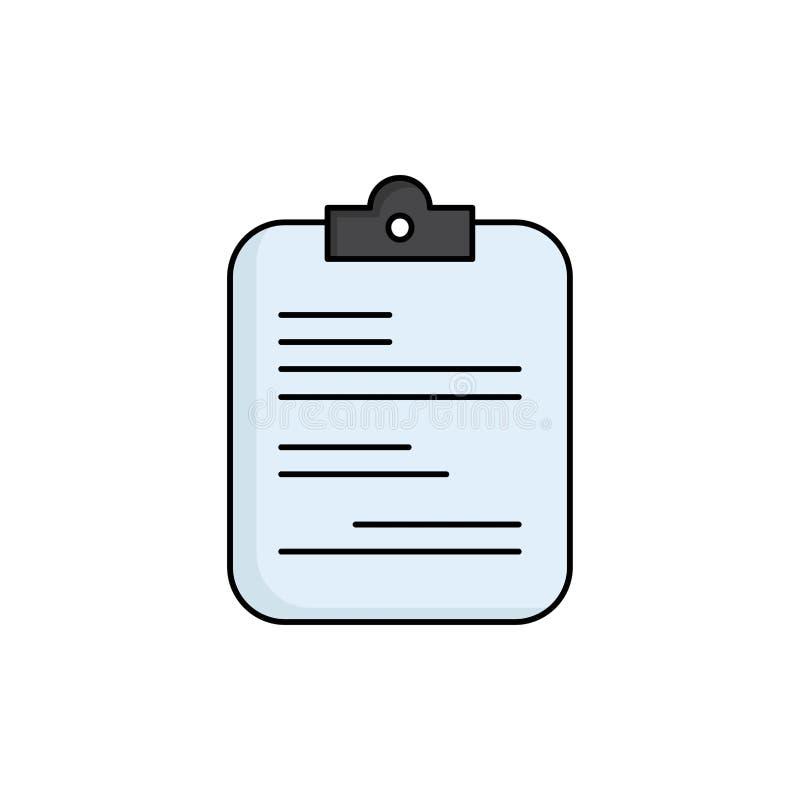 raport papierowy, medyczny, lista kontrolna, dokumentu koloru ikony Płaski wektor ilustracji