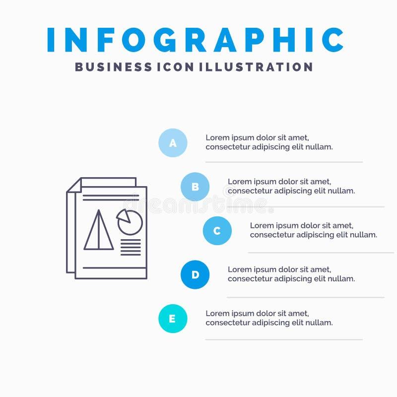 Raport, prezentacja, kulebiak, mapa, Biznesowej linii ikona z 5 kroków prezentacji infographics tłem ilustracji