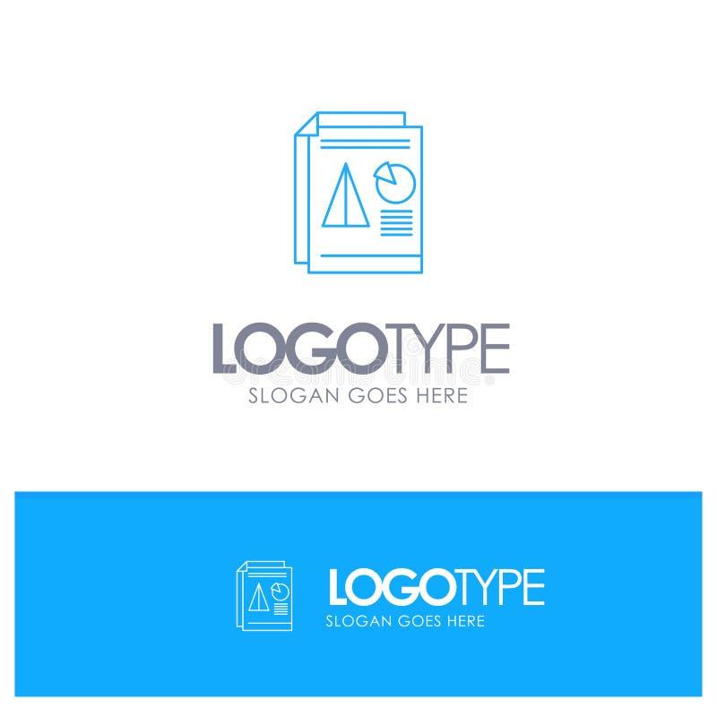 Raport, prezentacja, kulebiak, mapa, Biznesowy Błękitny konturu logo z miejscem dla tagline royalty ilustracja