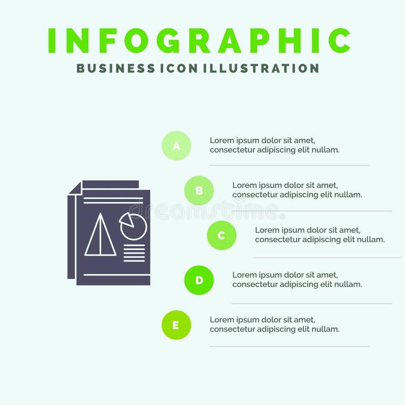 Raport, prezentacja, kulebiak, mapa, Biznesowy Stały ikony Infographics 5 kroków prezentacji tło royalty ilustracja