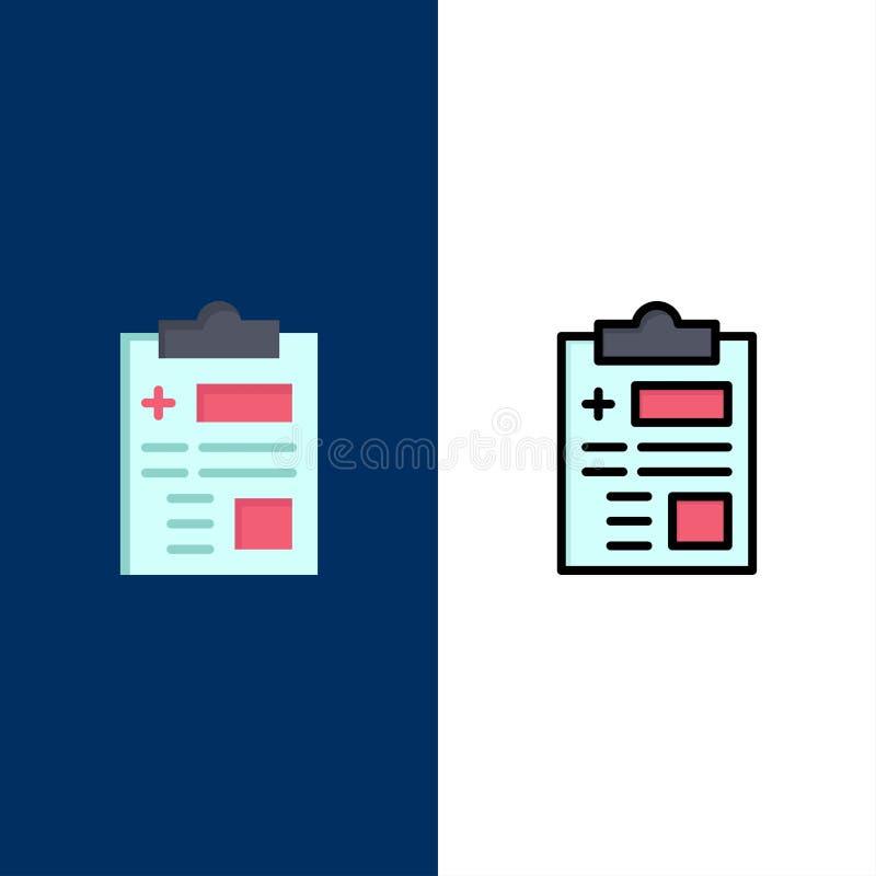 Raport, rejestr, zdrowie, opiek zdrowotnych ikony Mieszkanie i linia Wypełniający ikony Ustalony Wektorowy Błękitny tło ilustracja wektor