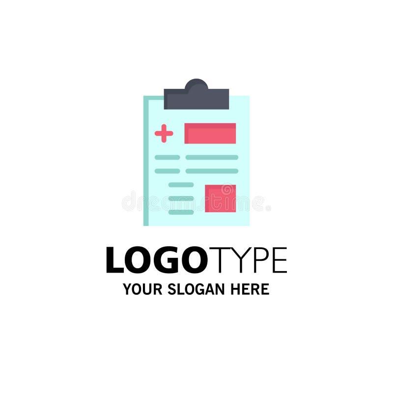 Raport, rejestr, zdrowie, opieka zdrowotna logo Biznesowy szablon p?aski kolor ilustracji