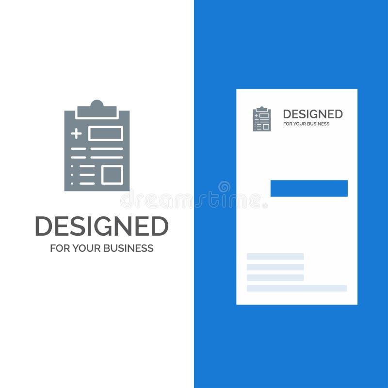 Raport, rejestr, zdrowie, opieka zdrowotna logo Popielaty projekt i wizytówka szablon, ilustracja wektor