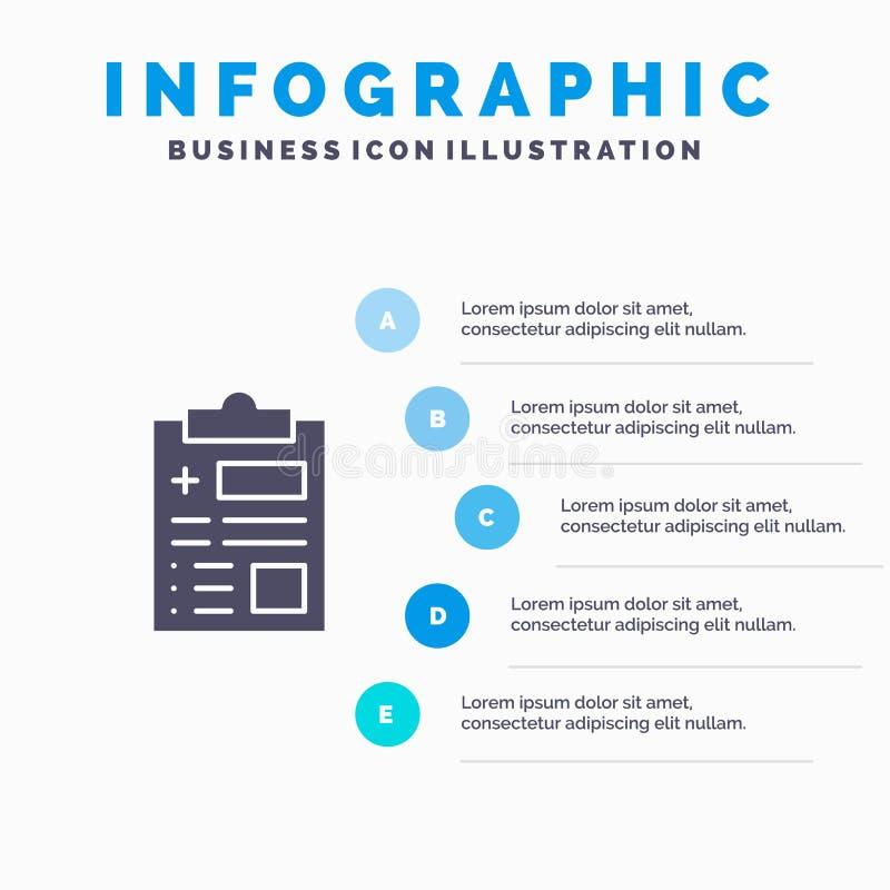 Raport, rejestr, zdrowie, opieki zdrowotnej Infographics prezentacji szablon 5 kroków prezentacja royalty ilustracja