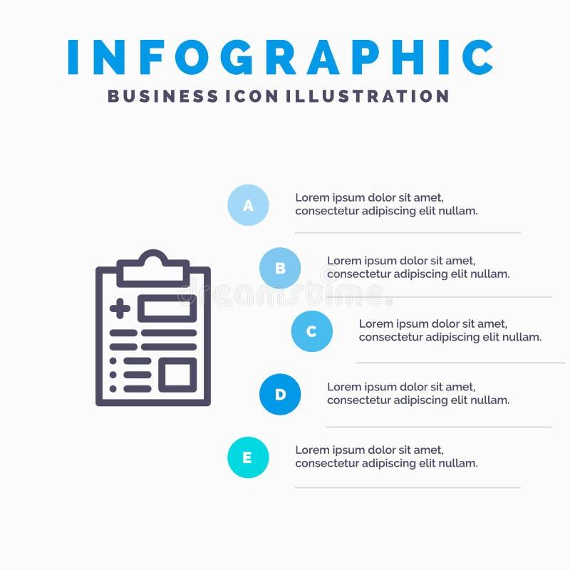 Raport, rejestr, zdrowie, opieki zdrowotnej Infographics szablonu 5 Błękitni kroki Wektor ikony kreskowy szablon ilustracji