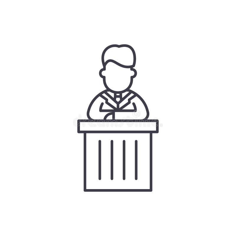 Raportowy kreskowy ikony pojęcie Raportowa wektorowa liniowa ilustracja, symbol, znak ilustracji