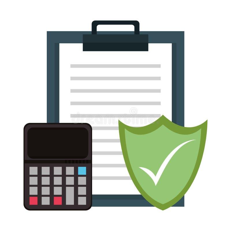 Raportowy schowek z kalkulatora i osłony ochrony symbolami ilustracji
