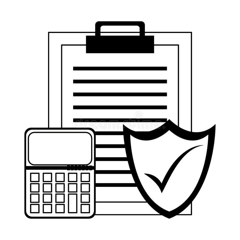 Raportowy schowek z kalkulatora i osłony ochrony symbolami w czarny i biały ilustracji