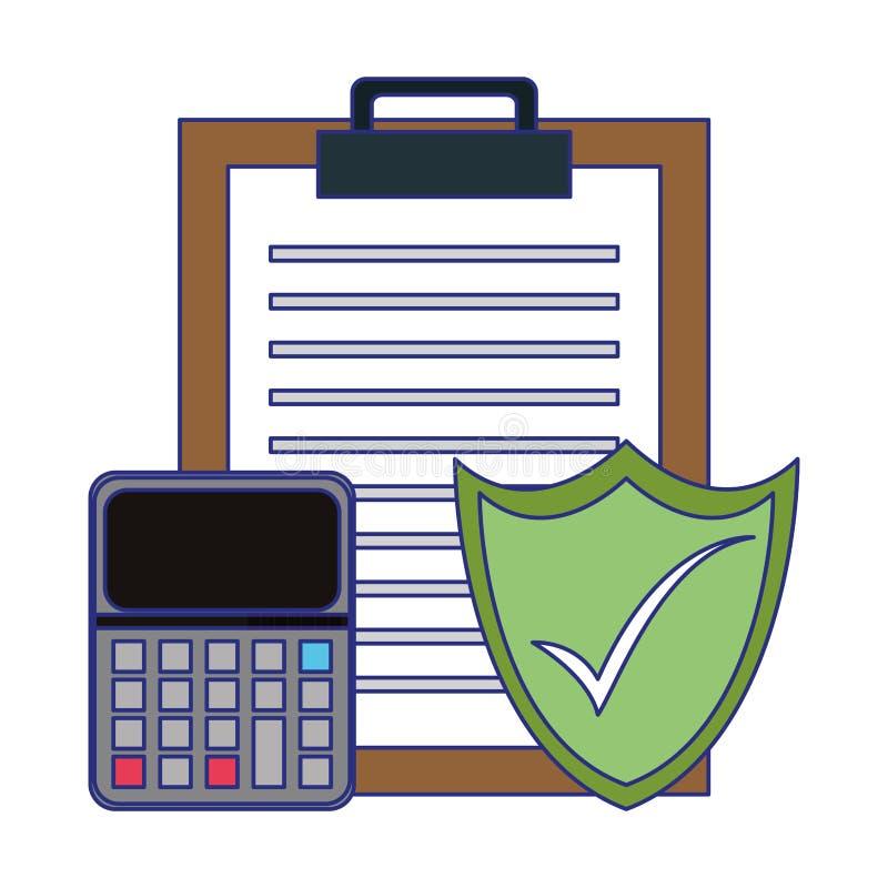 Raportowy schowek z kalkulatora i osłony ochrony symboli/lów niebieskimi liniami ilustracja wektor
