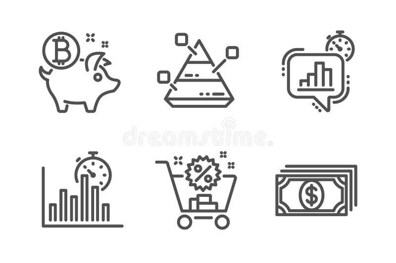 Raportowy zegar, w?zek na zakupy i ostros?up, sporz?dzamy map? ikony ustawia? Bitcoin ukuwa nazw?, statystyki zegar i zap?ata zna royalty ilustracja