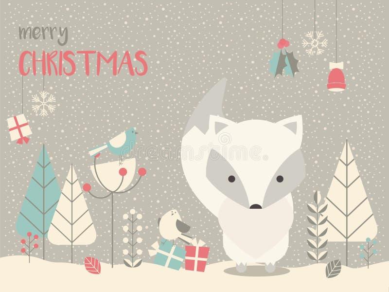 Raposa ártica bonito do bebê do Natal cercada com decoração floral ilustração royalty free