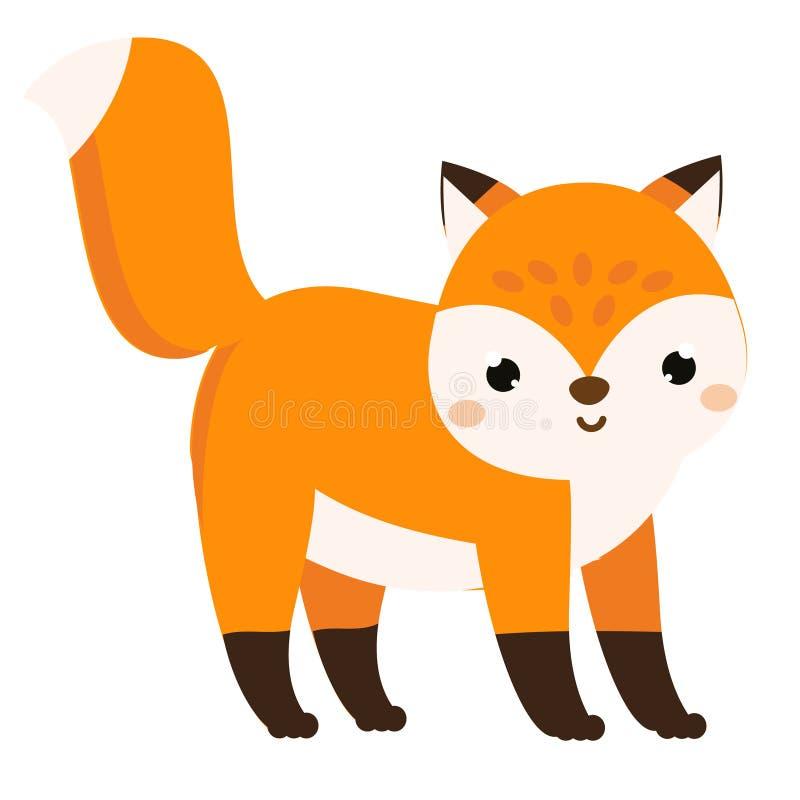 Raposa bonito Animal da floresta dos desenhos animados isolado no branco ilustração do vetor