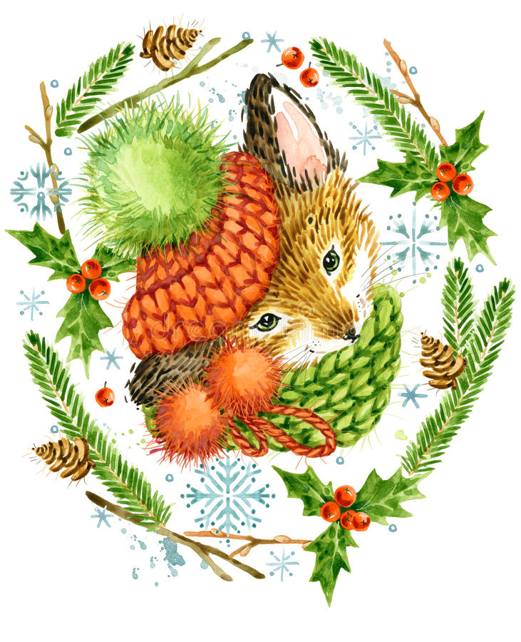 Raposa bonito Cartão de Natal animal da floresta Ilustração da floresta do inverno da aquarela Quadro da grinalda do Natal feriad ilustração do vetor