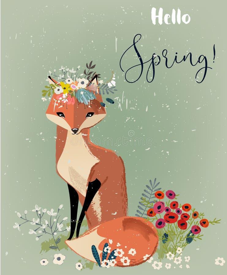Raposa bonito com grinalda floral ilustração stock