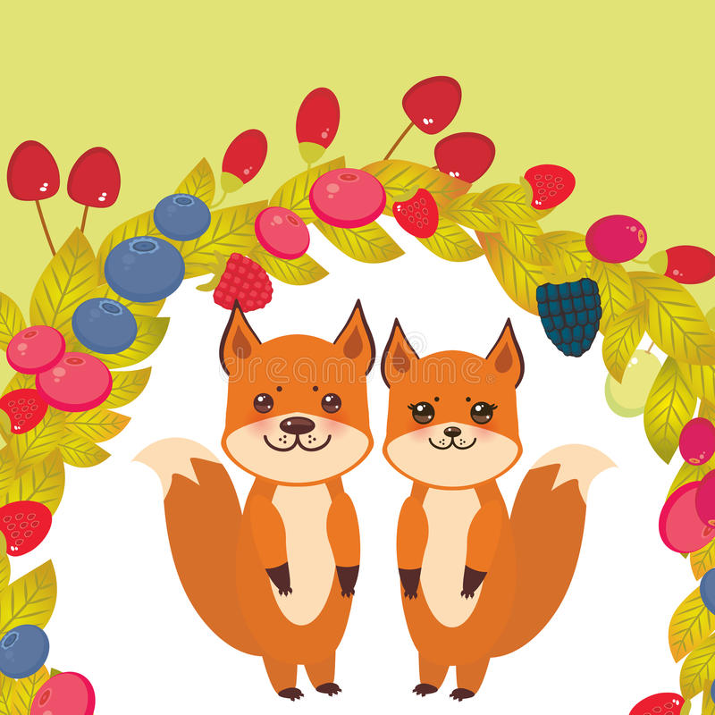 Raposa bonito do kawaii da grinalda redonda, uva de Goji da airela do arando de Cherry Strawberry Raspberry Blackberry Blueberry  ilustração royalty free