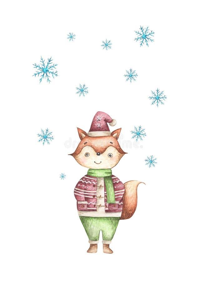 Raposa bonito do Natal em uma camiseta morna, no lenço e em um chapéu com queda de neve ilustração do vetor