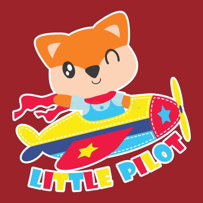 A raposa bonito voa o plabe como a ilustração piloto pequena dos desenhos animados para o projeto da camisa da criança t ilustração do vetor