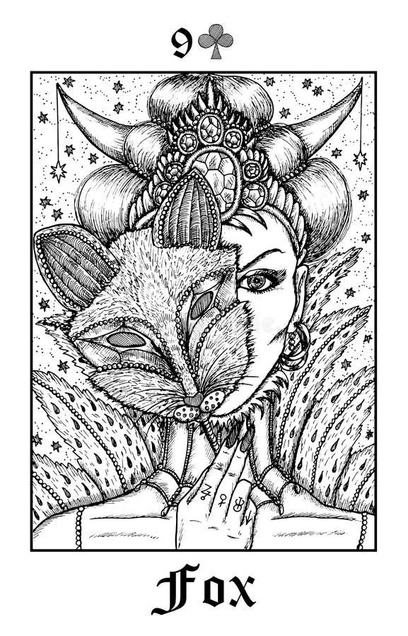 raposa Cartão de tarô da plataforma gótico do oráculo dos mistérios de Lenormand do vetor ilustração do vetor