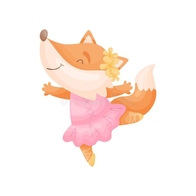 Raposa dos desenhos animados em uma bailarina cor-de-rosa do vestido Ilustra??o do vetor no fundo branco ilustração stock