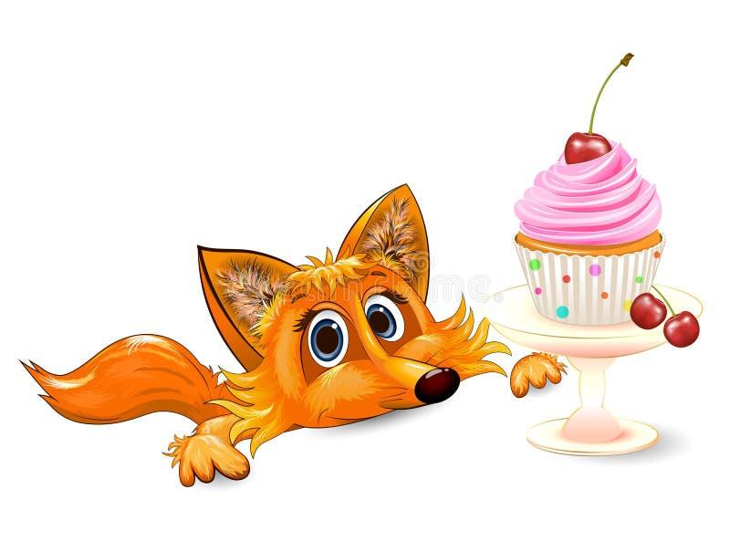 Raposa e cupcake com cereja ilustração stock