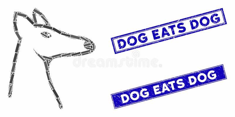 Raposa Mosaico e Retângulo Ringo Cão come Selos Cães ilustração stock