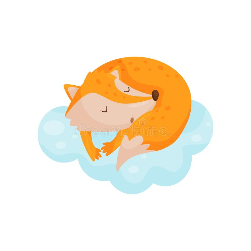 Raposa pequena bonito que dorme em uma nuvem, personagem de banda desenhada animal bonito, elemento do projeto da boa noite, veto ilustração do vetor
