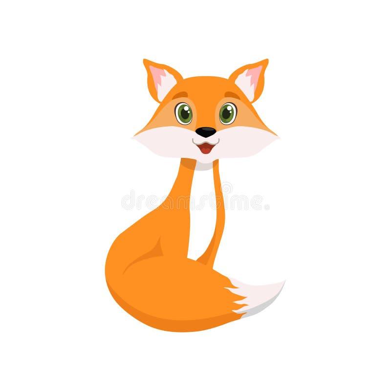 Raposa vermelha pequena bonito, ilustração animal bonita do vetor do personagem de banda desenhada ilustração stock