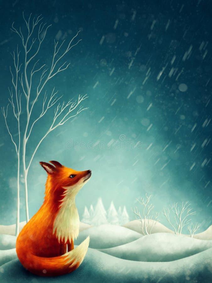 Raposa vermelha pequena no inverno ilustração do vetor
